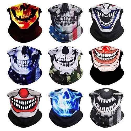 Headband Clown Face, Joker Bandanas, Multi Functional Skeleton Headwear Balaclava Scarf for Outdoor Sports Skiing Running(9PCS Skull-A)