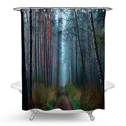 AnazoZ douchegordijn, 3D-effect, waterdicht, anti-schimmel, milieuvriendelijk, wasbaar, met 12 douchegordijnringen, polyester, landschap, badkuip, gordijn voor badkamer