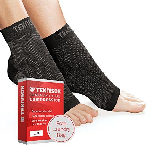 Socken Plantarfasziitis / Arthritis Kompression Manschetten - ÜBERLEGENE Schmerzlinderung in Füßen und Fersen, Zehenlose Fuß - für Männer und Frauen - Schwarz L/XL (EU 42.5 - 48)