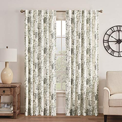 """WAVERLY Curtains for Bedroom - Kensington Bloom 52"""" x 84"""" Decorative Single Panel-Rod Pocket Window Treatment Privacy Curtains for Living Room, Grey"""
