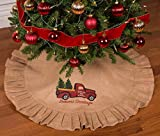 Primitive Home Decors 36' Natural Tan Christmas Tree Skirt with Ruffled Edge and Vintage Red Truck Delivering Christmas Trees