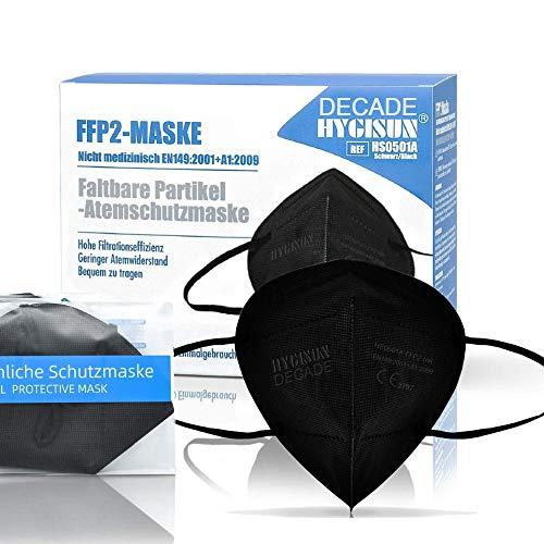 FFP2 Maske CE Zertifiziert durch Stelle CE 2797 - DEACADE Edition by Hygisun 10x SCHWARZ Maske FFP2 Mund und Nasenschutz Einmalmasken Mundschutz, Masken Mundschutz FFP2 Maske Schwarz