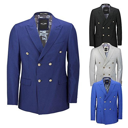 Blazer vintage Classique Pour homme, double boutonnage, Noir, Bleu, Boutons Dorés – Homme – 4 couleurs - bleu - poitrine 50