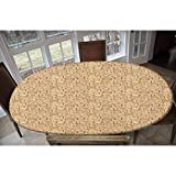 Elastic Polyester Fitted Table Cover,Vintage Inspired Frames with Swirls and Curves Hand Drawn Animals and Flowers Decorative Oblong/Oval Elastic Fitted Tablecloth,Fits Tables up to 48' W x 68' L