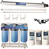 55W UV Ultraviolet Light + Sediment & Carbon Well Water Filter Purifier System with 3/4' Ports  12 GPM UV Sterilizer with Big Blue Size 4.5' x 10' Filters