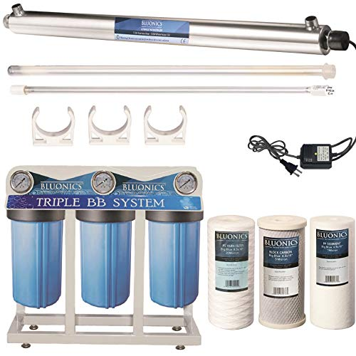 55W UV Ultraviolet Light + Sediment & Carbon Well Water Filter Purifier System with 3/4' Ports  12 GPM UV Sterilizer with Bluonics Water Filter Housing System Size 4.5' x 10' Filters