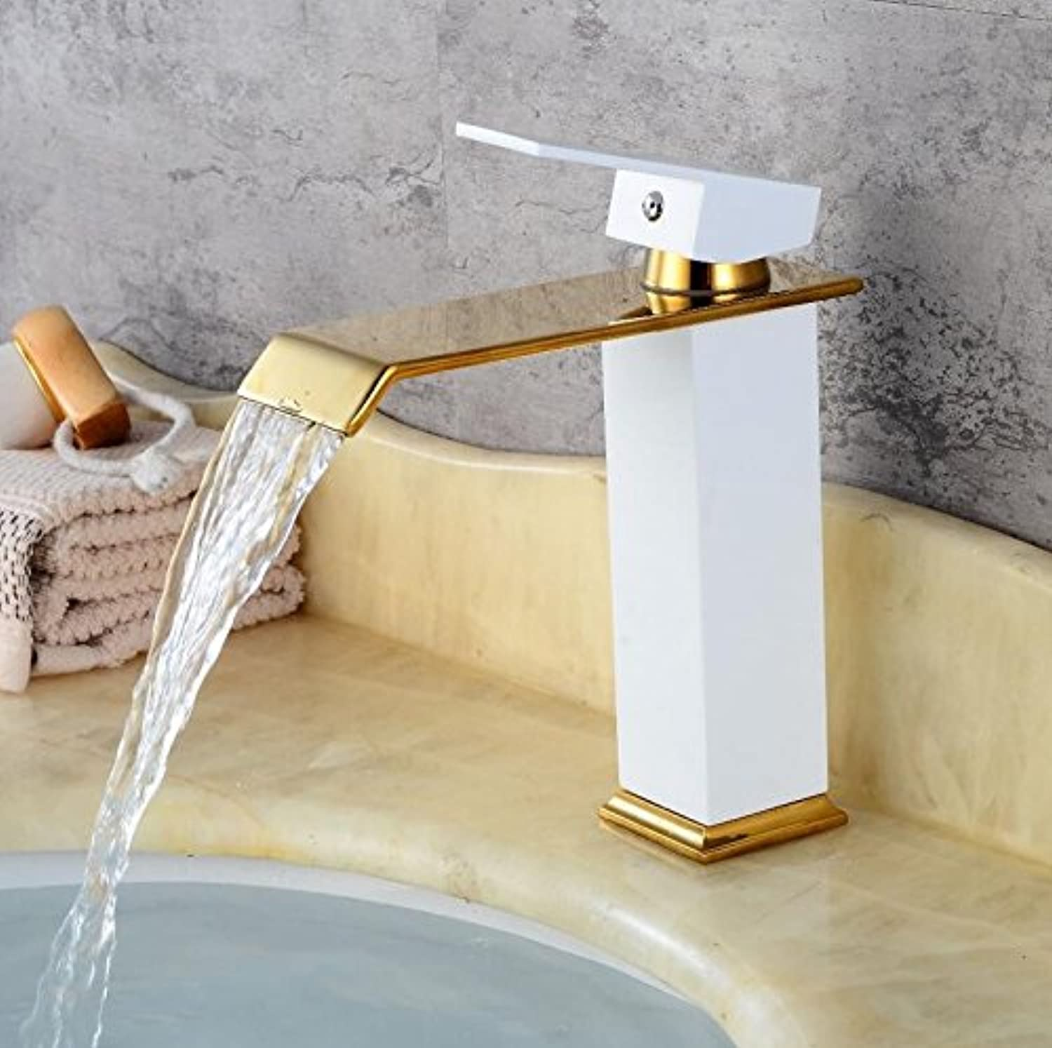 Mkkwp Waterfall Fashion Style Home Multi-color Bath Basin Faucet Cold and Hot Taps Bathroom Mixer