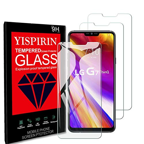 YISPIRIN Pellicola Protettiva per LG G7 ThinQ Vetro Temperato, [3-Pezzi] [9H Durezza] [Alta Trasparente] [Anti-Impronta Digitale] Protezione Schermo per LG G7 ThinQ