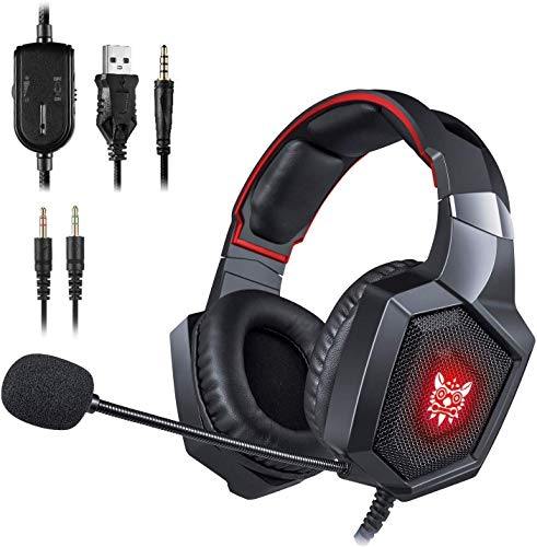 Gaming Headset PS4 K8 Stereo Xbox one Headset Wired PC Gaming Headphone with Noise Cancelling Mic,Over Ear Gaming Headphones for PC/MAC//PS4/New Xbox One/Laptop