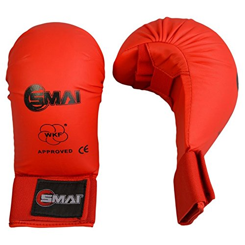 SMAI WKF Karate Handschutz ohne Daumen, rot, Handschuhe, Faustschützer (L)