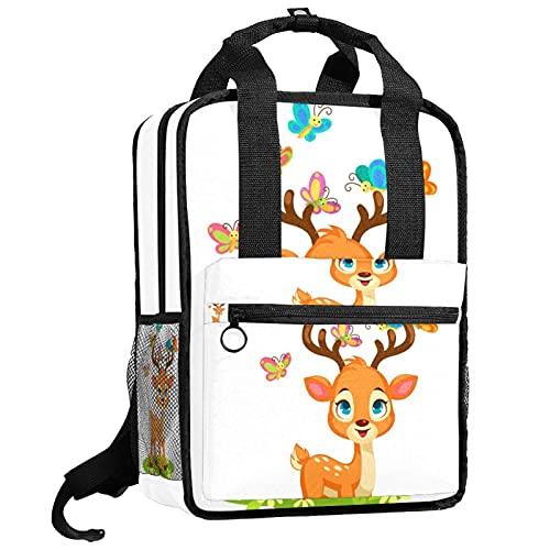 KAMEARI Mochila de la universidad Bookbags bolsa de hombro bolsas lindo bebé ciervo mariposas