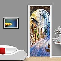 3Dドア壁画アートステッカー 自己粘着ドアステッカー3Dシティビューストリートウォール壁画ホームドアデカール