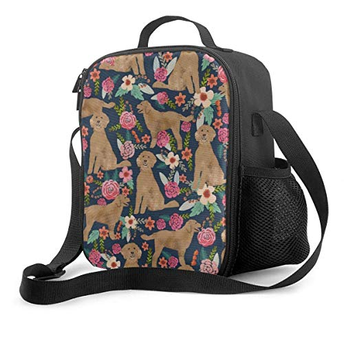 Leak-Proof Lunch Bag Tote Bag, Golden Doodle Floral Flowers Dog Fabric Pattern Dark Cooler Bag Portable Carrying Lunch Box Bag for Adults and Kids to School Office Outdoor