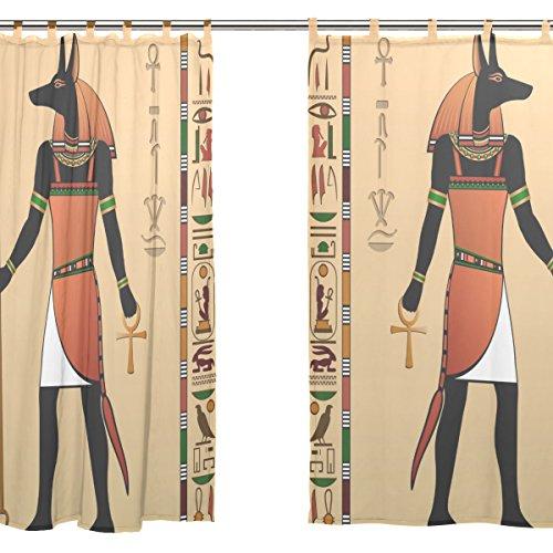 JSTEL 2 pcs Voile de rideau de fenêtre, DE L'Égypte antique momie Pharaon Dieu Soleil, tulle Sheer Rideau Drape Lit 139,7 x 198,1 cm Ensemble de deux Panneaux