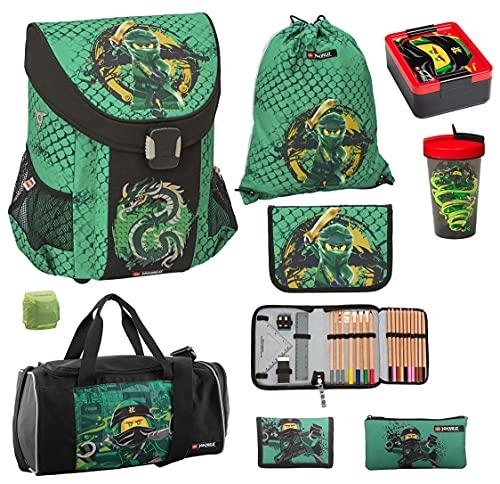 LEGO Ninjago Easy Schulranzen-Set 9tlg. Green Spinjitzu mit Federmappe gefüllt, Turnbeutel, Dose, Flasche, große Sporttasche und Regenschutz grüner Ninja Lloyd