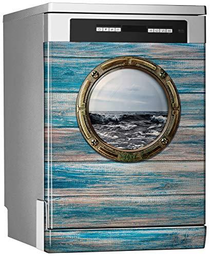 Megadecor decoratief vinyl voor vaatwasser, afmetingen standaard 67 cm x 76 cm, zicht op zee.