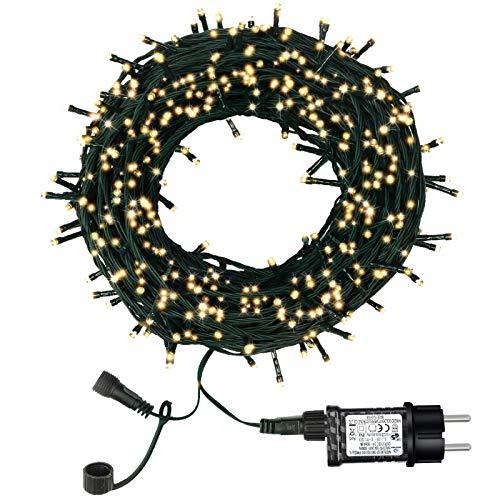 Luci Natale da Esterno, Luci Albero di Natale, 98ft 300 LED 8 Modalità Luci da Stringa, Fairy Lights, Luci Natale Decorative per Giardini, Camera, Matrimonio, Balcone (Bianco Caldo)