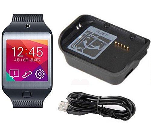 Myfei, caricabatterie di ricambio di alta qualità per Galaxy Gear,nero, caricabatterie da tavolo + cavo micro USB per smart watch Samsung Galaxy Gear SM-V700