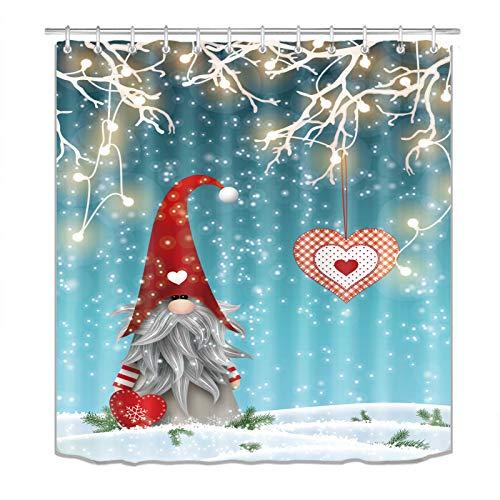 Weihnachten Duschvorhang für Badezimmer, Weihnachten Zwerge Duschvorhang, lustiger Weihnachtsmann Stoff Duschvorhang Badezimmer Dekor mit Haken 72 x 72 Zoll (K8)