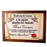 Calledelregalo Diplomas pergamino Personalizados para Todos los destinatarios (A la Mejor Abuela) con Marco