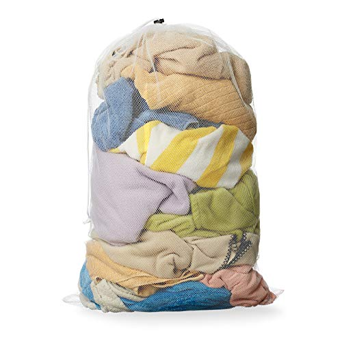 "Casafield 24"" x 36"" Large Mesh Drawstring Laundry or Equipment Bag - Heavy-Duty Washable Net - White"