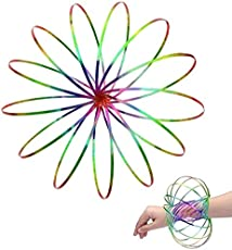 Amazing Magic Flow Rings Kinetic Educational Spring Toy Funny Outdoor Game Intelligent Relax 3D Kinetic Ring Spring Bracelet Stainless, Metal Galactic Globe Toy Fit for Kids Boys Girl Adults (Rainbow)