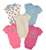 Lucky Brand Baby Girls' Infant 5 Pack Bodysuits. Pink/Blue, 0/3M