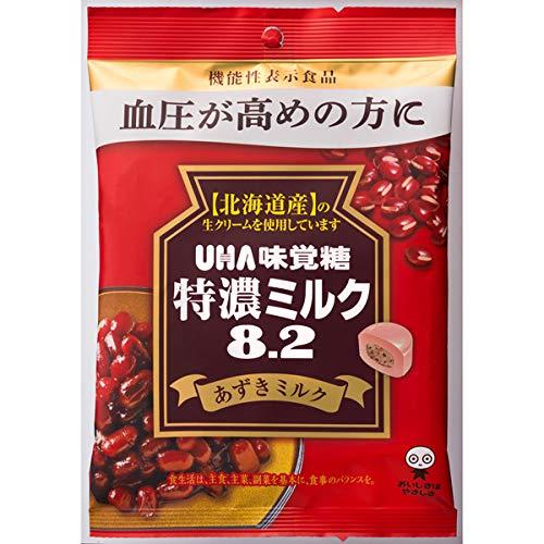 UHA味覚糖 機能性表示食品 特濃ミルク8.2 あずきミルク 93g×72袋入り (1ケース)