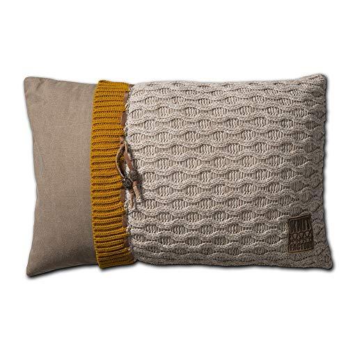 Knit Factory 021302 Dekokissen Strickkissen Joep, 60 x 40 cm, beige mit Füllung