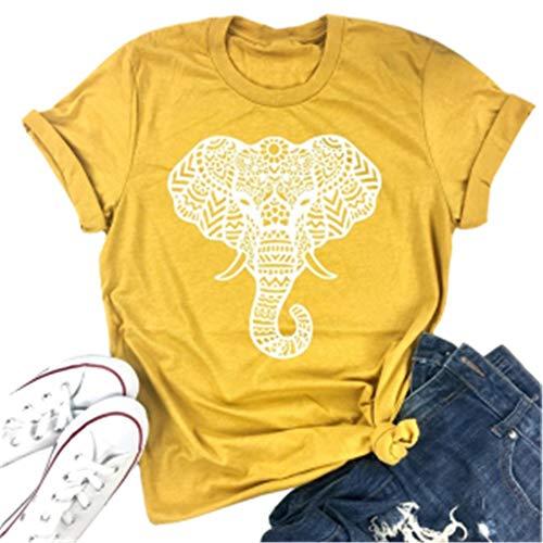 Vdnerjg Women's Cute Elephant Graphic T Shirts Summer Short Sleeve Casual Cotton Tees Tops Yellow