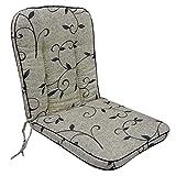 OUTLIV. Romeo Niederlehnerauflage Polsterauflage Stapelsessel-Auflage Sitz- Rückenkissen Beige Schwarz Ranke Sitzauflage für Gartensessel und Gartenstuhl