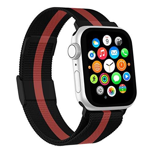 Mediatech Ersatzarmband Kompatibel mit Apple Watch Armband 44mm 42mm 40mm 38mm Edelstahl-Armband, Wechselarmband mit Magnetverschluss kompatibel mit iWatch Series 6/5/4/3/2/1 SE (38mm/40mm, Schwarz)