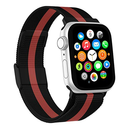 Mediatech Cinturino di ricambio compatibile con Apple Watch, 44 mm, 42 mm, 40 mm, 38 mm, in acciaio inox, con chiusura magnetica, compatibile con iWatch Series 6/5/4/3/2/1 SE (42 mm/44 mm, nero)
