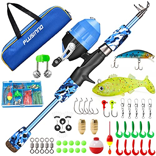 ODDSPRO Kids Fishing Pole, Portable Telescopic Fishing Rod and Reel Combo Kit - with Spincast Fishing Reel Tackle Box for Boys, Girls, Youth
