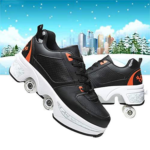 Ajustables Zapatillas Deportivas para Niños Zapatillas con Ruedas Patines 4 Ruedas Niña De Skate Zapatillas De Gimnasia para Niñas Navidad,Black Orange,40