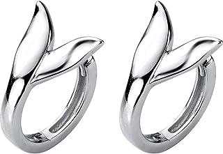 Dtja Fish Tail Mermaid Tiny Sleeper Hoop Earrings for Women Girls S925 Sterling Silver Small Cute Cartliage Tender Shoot P...