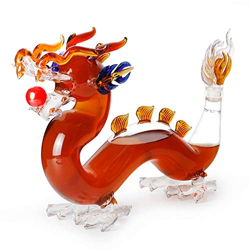 Decantador de whisky animal - Decantador chino en forma de dragón de 500 ml, para hombres, vidrio de borosilicato alto sin plomo soplado a mano, para ginebra, licor, whisky, bourbon, vodka o vino