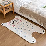 Funny Cat Rug for Kids Bedroom Baby Nursery Playroom Cute Animal Rug Super Soft Shaggy Plush Children Rug, Small Kids Bathroom Rug Non-Slip & Absorbent & Washable, Rectangular 50X31 Inch