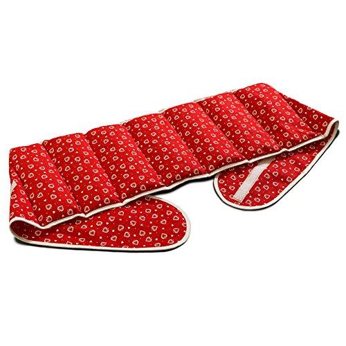 Kirschkernkissen. Gürtel mit Klettverschluss, ca. 135cm, 7-Kammer | Wärmekissen Rücken Wärmegürtel XXL Körnerkissen, Herzen-rot