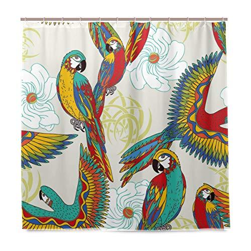 vinlin Duschvorhang mit Papagei, wasserfest, 167,6 x 182,9 cm, Polyester, Multi, 72x72 inch