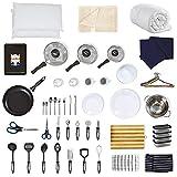 Noah's Box 60+ Piece Student Starter Kit - Bedding Pack (Duvet, Pillows, Bed Linen), Pan Sets, Kitchen Tools, Cooking Utensil, Tableware, Baking Tray, Cookware, Dinnerware Set (White, UK Single)