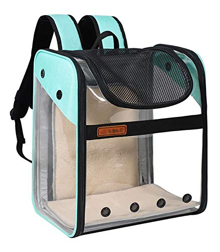 HKMA Bolsa para Mascotas Transparente Cápsula Espacial Plegable De PVC para Llevar Mochila Transpirable Bolsa De Transporte Extendida con Apertura De Ojo De Gato