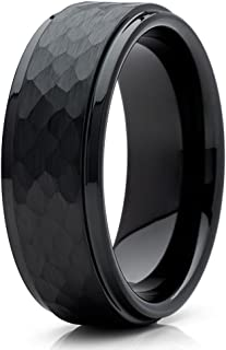 Black Tungsten Wedding Band 8mm Black Tungsten Ring Hammered Tungsten Ring Men & Women Brushed Tungsten Ring 8mm Tungsten Ring Comfort Fit