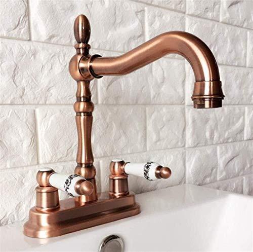 Grifos de lavabo de cobre rojo antiguo Grifo de baño de 2 orificios Grifo mezclador de doble manija Grifo de cocina de agua de baño @ Latón