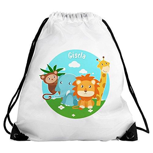 Turnbeutel mit Namen Gisela und Motiv mit Tieren (Affe, Elefant, Löwe, Giraffe) für Mädchen | Sportbeutel für Kinder