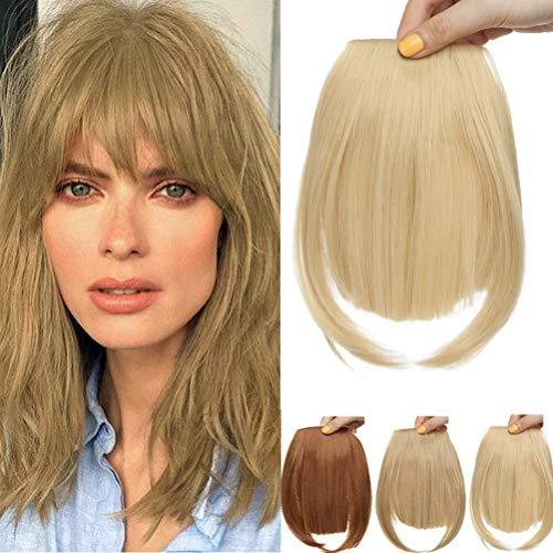 Clip in Extensions Pony Haarteil Natürliche Haarverlängerung 1 Stück 2 Clips Glatt Kunsthaar wie Echthaar für Frauen Goldene Mischung Bleach Blonde