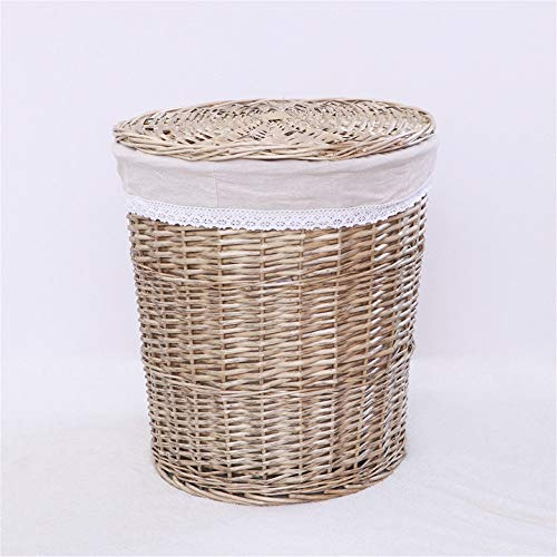 Bixialan Laundry Baskets Handwoven Laundry Basket Wicker Clothes Hamper With Lid And Removable Liner Bag Laundry Hampers Storage Sorter (Color : D, Size : L)