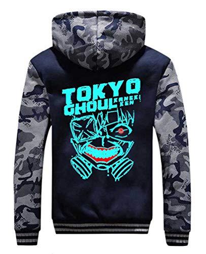 Cosstars Anime Tokyo Ghoul Hoodie Kapuzenpullover Herren Cosplay Kostüm Plus Samt Camo Leuchtend Sweatjacke Mantel 1 XL