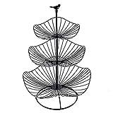 Cesta de fruta metálica de tres capas con forma de hoja de loto para mesa de café, sala de estar, comedor, cocina, color negro