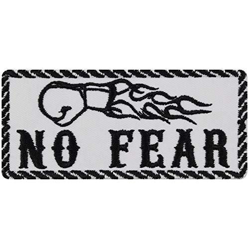 No Fear - Parche para motero, diseño de roquero, divertido parche para planchar, adhesivo resistente y metálico, ideal como regalo para motociclistas, para chaquetas de cuero, 100 x 45 mm
